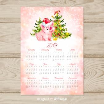 Calendario de año nuevo chino 2019 en acuarela