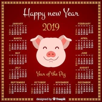 Calendario año nuevo chino cara de cerdo sonriente