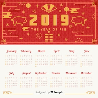 Calendario año nuevo chino cerdo