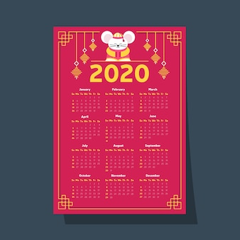 Calendario del año nuevo chino en diseño plano