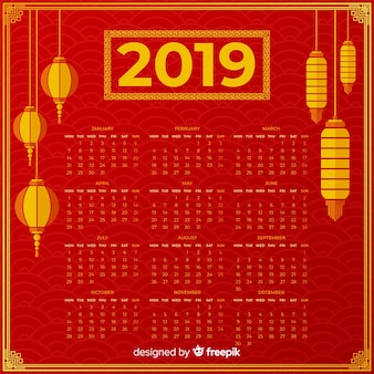 Calendario año nuevo chino farolillos colgando
