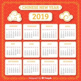 Calendario año nuevo chino nubes planas