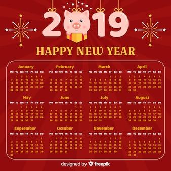Calendario año nuevo chino número colgando