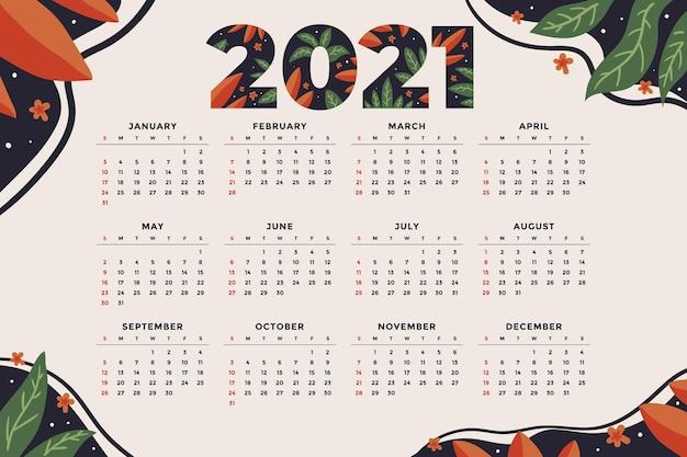 Calendario de año nuevo dibujado a mano