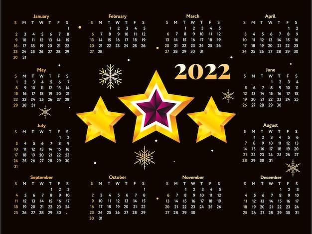 Calendario de bocetos de año nuevo de árbol de navidad 2022 la semana comienza el domingo.