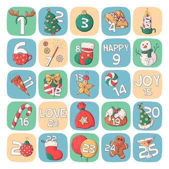 Calendario de carteles de vacaciones de invierno