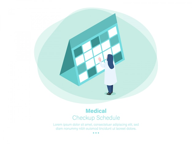 Calendario de chequeo medico diseño isometrico