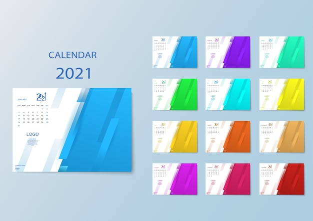 Calendario de colores con meses para 2021.
