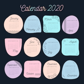 Calendario de colores pastel para la plantilla 2020