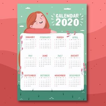 Calendario colorido diseño plano