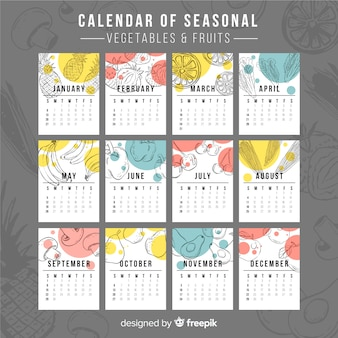 Calendario de comida estacional dibujado a mano