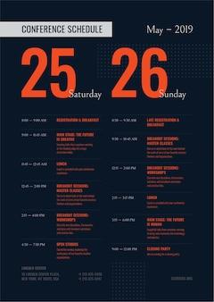 Calendario de conferencias plantilla de póster