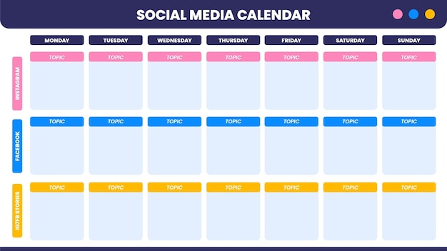 Calendario de contenido de redes sociales simple y moderno