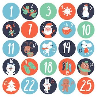 Calendario de cuenta regresiva de adviento con personajes de dibujos animados y símbolos.
