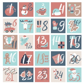 Calendario de cuenta regresiva de diciembre, dibujos animados de invierno creativo de víspera de navidad con números.