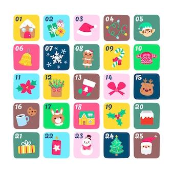 Calendario de cuenta regresiva de símbolos dibujados a mano para el día de navidad