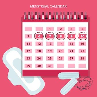 Calendario de menstruación con tampones de algodón