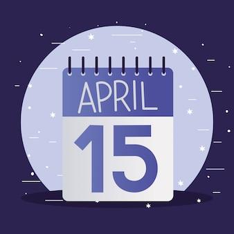 Calendario del día de impuestos y estrellas