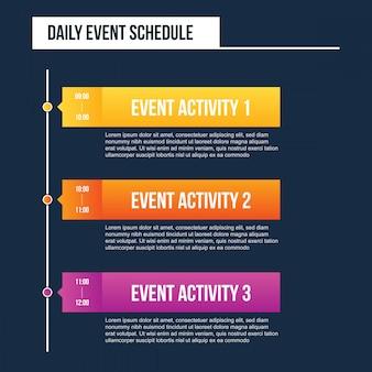 Calendario diario de eventos en blanco, cronograma del día.