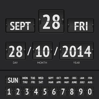 Calendario digital de marcador negro flip con fecha y hora de la semana