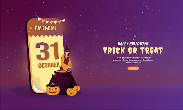 Calendario de diseño plano del concepto de invitación de fiesta de halloween