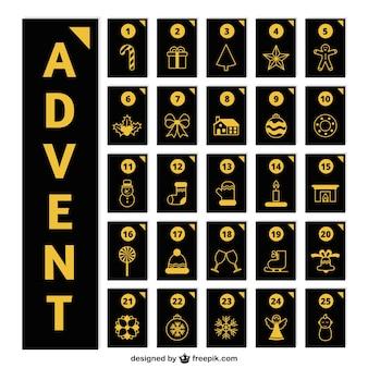 Calendario elegante de adviento con detalles dorados