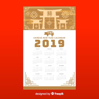 Calendario elegante para año nuevo chino