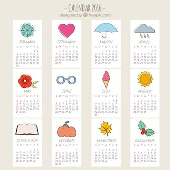 Calendario esbozado de 2016