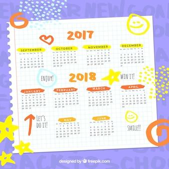Calendario de escolar con dibujos