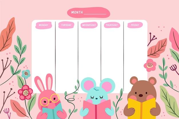 Calendario escolar de diseño plano de dibujos animados de animales lindos