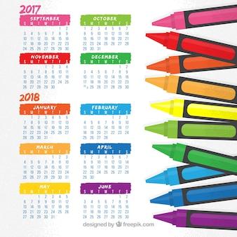 Calendario escolar divertido con ceras de colores