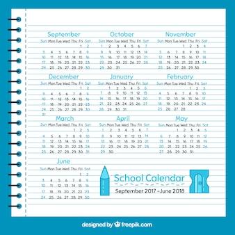 Calendario escolar de hoja de libreta en diseño plano