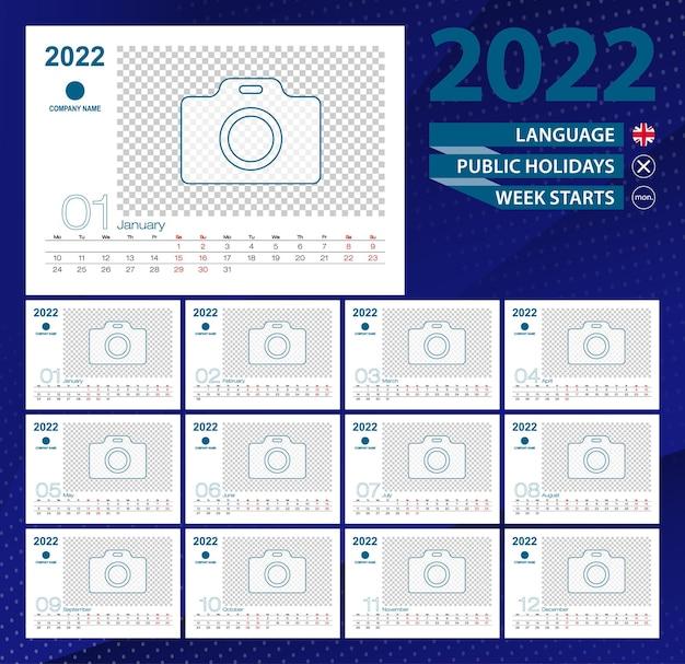 Calendario de escritorio 2022, cuadrícula de 2 semanas en inglés. lugar para foto para ilustración.