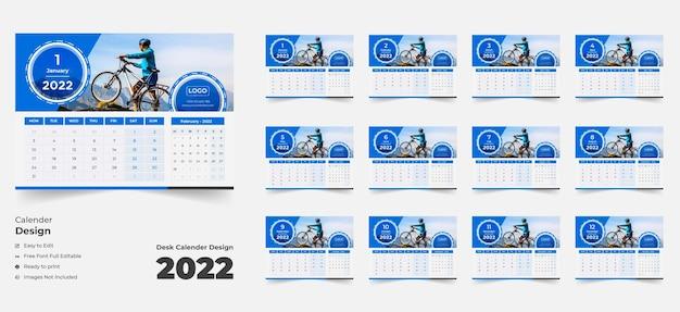 Calendario de escritorio 2022 con diseño azul calendario de escritorio azul calendario de escritorio de 202212 páginas