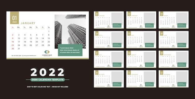 Calendario de escritorio 2022 diseño de plantilla simple y limpio