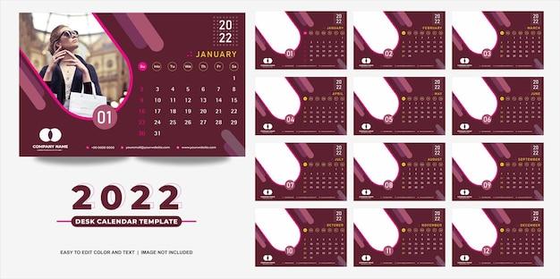 Calendario de escritorio 2022 plantilla diseño moderno y simple