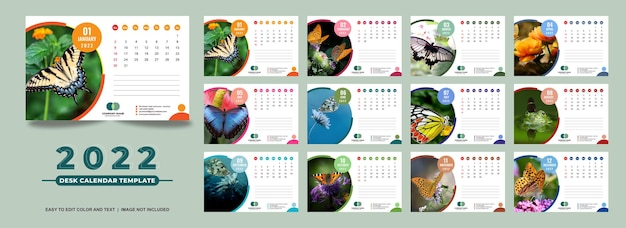 Calendario de escritorio 2022 plantilla de diseño a todo color