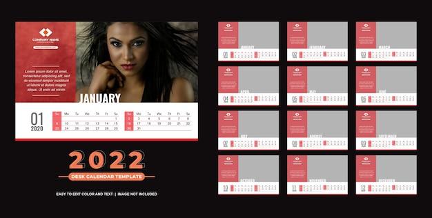 Calendario de escritorio 2022 plantilla simple y elegante