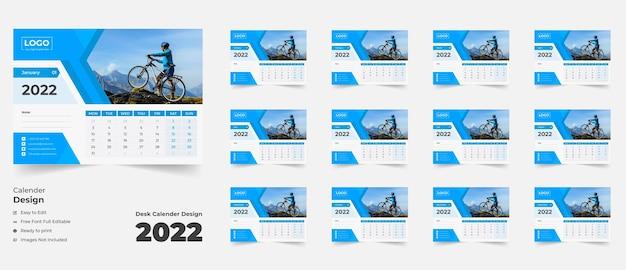 Calendario de escritorio de año nuevo 2022 calendario de escritorio para negocios corporativos con formas abstractas de colores