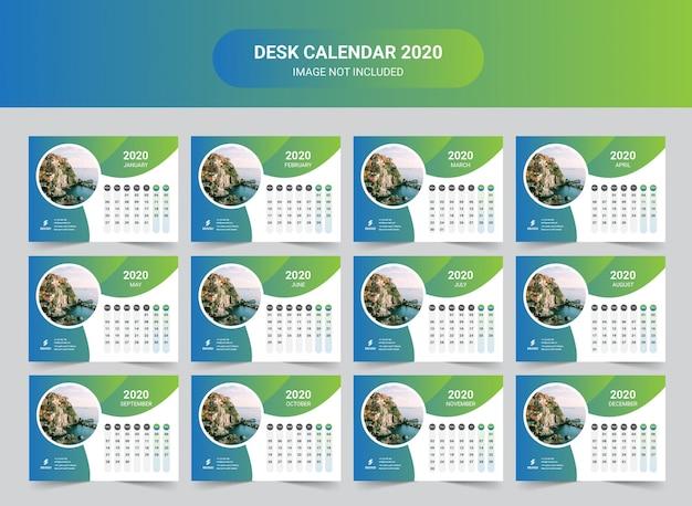 Calendario de escritorio de año nuevo de viaje 2020