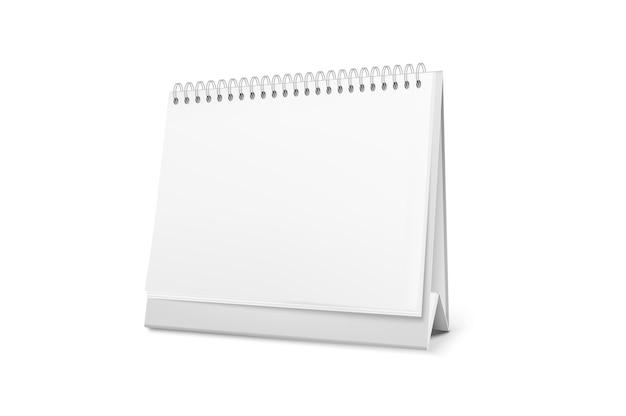 Calendario de escritorio de pie en blanco con una espiral.