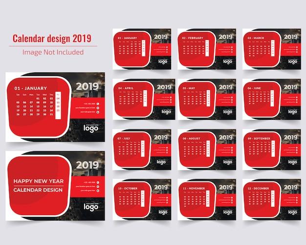 Calendario de escritorio rojo 2019