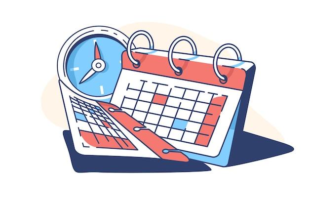Calendario en espiral y reloj