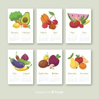 Calendario estacional colorido de frutas y verduras