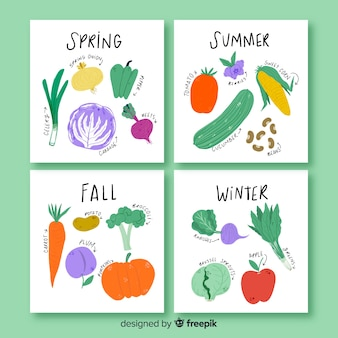 Calendario estacional de frutas y verduras dibujado a mano