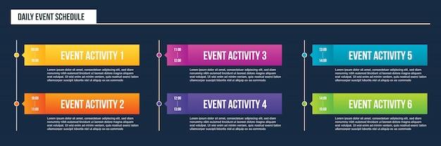 Calendario de eventos diarios en blanco, plan de día de plantilla de línea de tiempo.