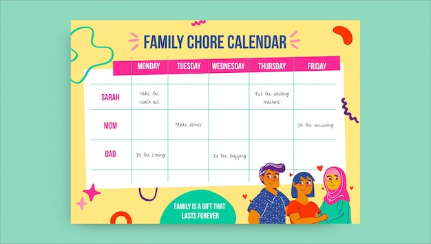 Calendario familiar de tareas semanales coloridas creativas.