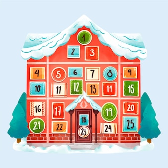 Calendario festivo de adviento de acuarela
