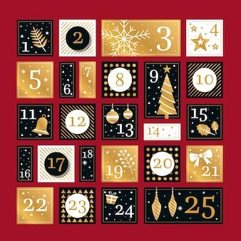 Calendario festivo de adviento dorado