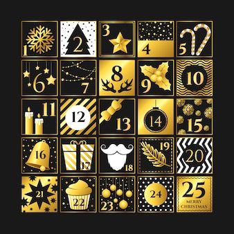 Calendario festivo dorado de adviento